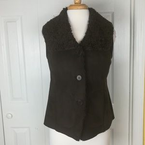 Talbots brown faux suede and sherpa lined vest